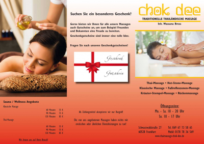 Flyer Chok dee Thaimassage