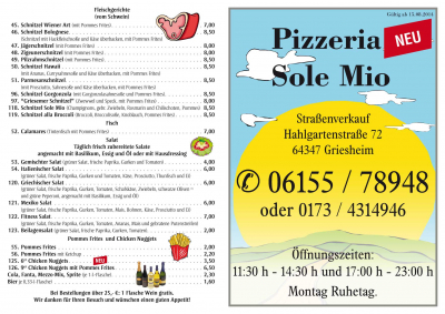 Flyer Pizzeria Sole Mio